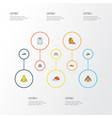 clothes colorful outline icons set collection of vector image