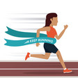 colorful background with woman athlete running in vector image vector image