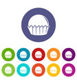 cupcake icons set color vector image vector image