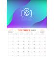 december 2019 calendar planner stationery design vector image