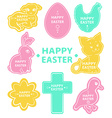 Easter sticker collection cute animals vector image