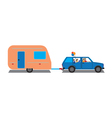 Family traveling by car with trailer vector image vector image