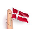finger with denmark waving flag vector image vector image
