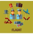 Flat air traveling infographic with text Flight vector image