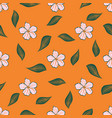 floral pattern on orange vector image
