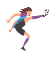 girl playing soccer female football player vector image vector image