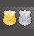 gold and silver police officer badge icon vector image vector image