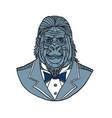gorilla tuxedo jacket monoline color vector image vector image