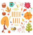 hello fall cute cartoon autumn set vector image vector image