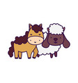 horse and sheep farm animal cartoon vector image vector image
