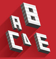 isometric letters a b c d e drawn with stripes and vector image