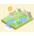 Isometric Village Country City Eco Green vector image