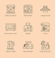 kitchen appliances linear icon set vector image vector image