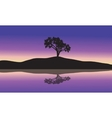 landscape with silhouette of a single tree vector image vector image