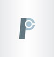 letter p character symbol design vector image vector image
