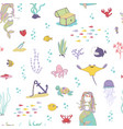 Mermaids and sea animals cartoon seamless pattern