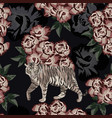 moonlight chinese tiger on rose background vector image