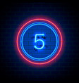 neon city font sign number 5 vector image vector image