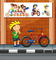 People riding bicycle on the road vector image vector image
