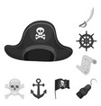 pirate sea robber monochrome icons in set vector image vector image