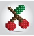 pixel cherry vector image vector image