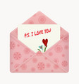 postcard with a message ps i love you vector image vector image