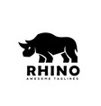 rhinoceros logo monochrome color business template vector image vector image
