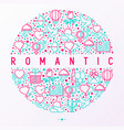 romantic concept in circle with thin line icons vector image vector image