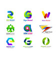 set letters colorful abstract 3d logo and icons