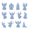 set of twelve angel silhouettes vector image