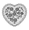 silhouette heart with decorative frame and pattern vector image vector image