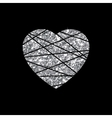 Silver heart sign Metal shape isolated on black vector image vector image