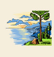 sketch landscape a pine tree stands on ground vector image vector image