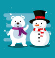 snow bear with scarf and snowman with hat vector image vector image