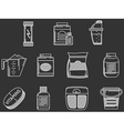 Sports supplements white line icons set vector image vector image