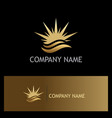 star beach wave summer gold logo vector image