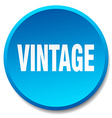 vintage blue round flat isolated push button vector image vector image