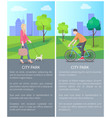 walking with dog blonde and man riding on bike vector image vector image