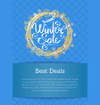 winter sale poster best deals text in decor frame vector image vector image