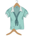 Woman's blouse and wooden hanger on white backgrou vector image