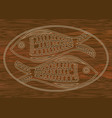 wooden art two fish carved into dark wood symbol vector image vector image