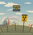 Radiation area landscape around nuclear power plan vector image