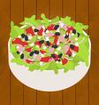 tuna salad on wood background vector image