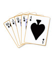 ace spades flush playing cards vector image vector image