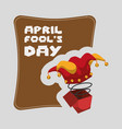 april fools day hat joker in the box vector image vector image