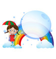 background template with girl and rainbow vector image