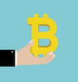 bitcoin sign in businessman hand vector image vector image