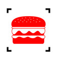 burger simple sign red icon inside black vector image vector image