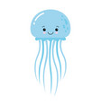 cartoon funny blue jellyfish vector image