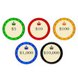 casino chips vector image vector image